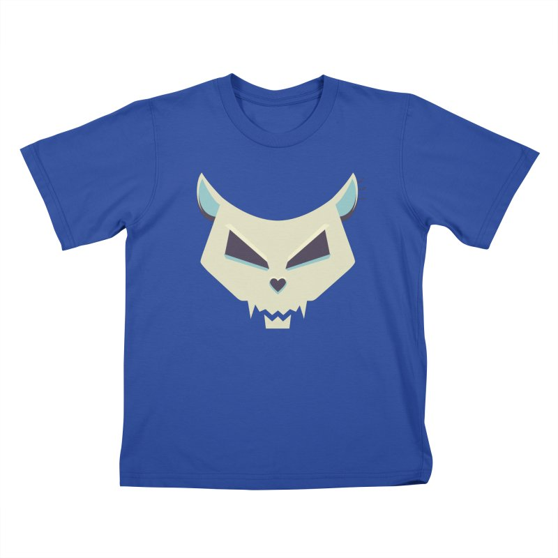 Funny Evil Cat Skull Kids T-shirt by Boriana's Artist Shop