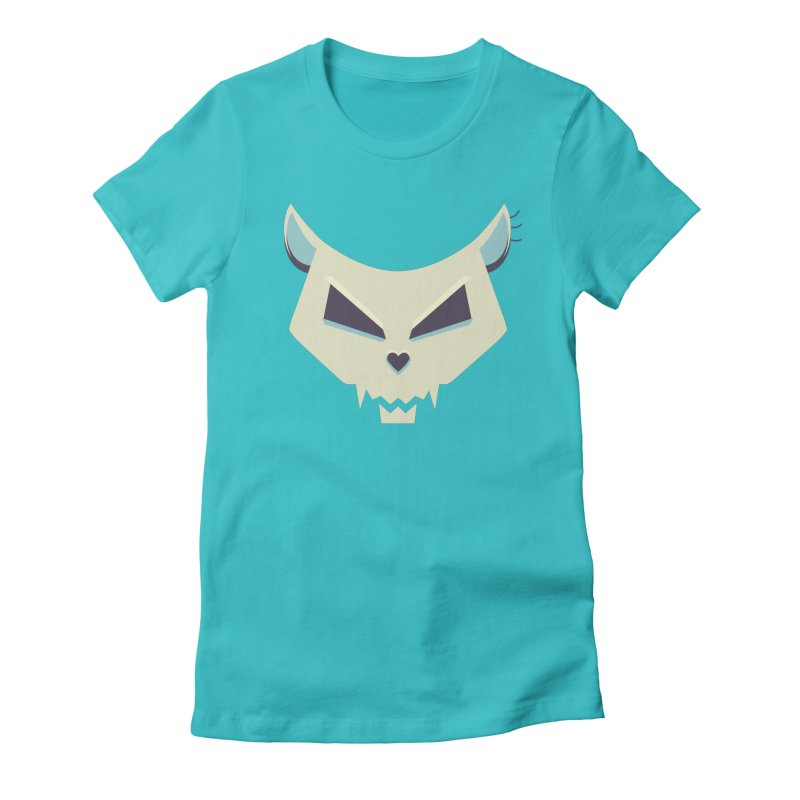 Funny Evil Cat Skull Women's Fitted T-Shirt by Boriana's Artist Shop