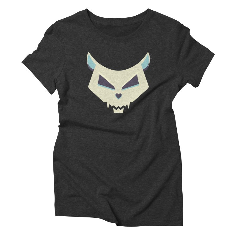 Funny Evil Cat Skull Women's Triblend T-shirt by Boriana's Artist Shop