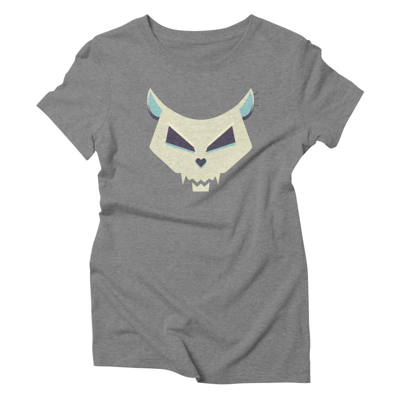 Funny Evil Cat Skull Women's Triblend T-shirt by Boriana's Artist Shop