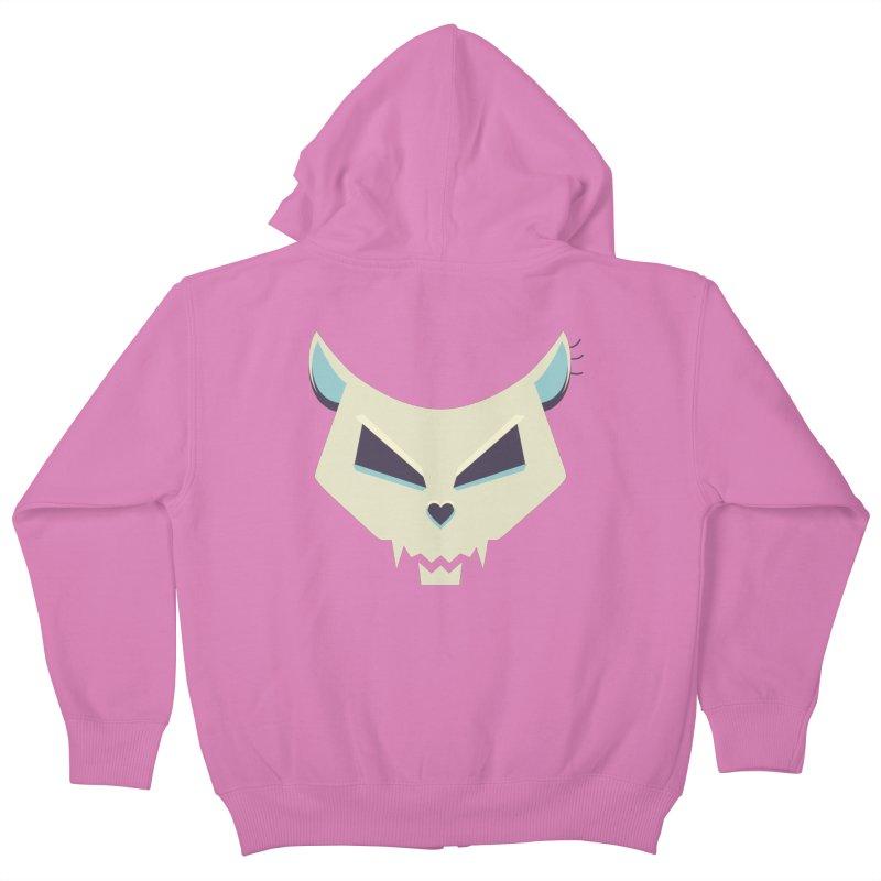 Funny Evil Cat Skull Kids Zip-Up Hoody by Boriana's Artist Shop