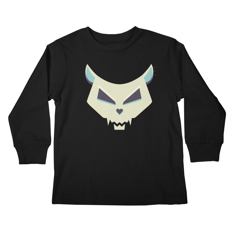 Funny Evil Cat Skull Kids Longsleeve T-Shirt by Boriana's Artist Shop