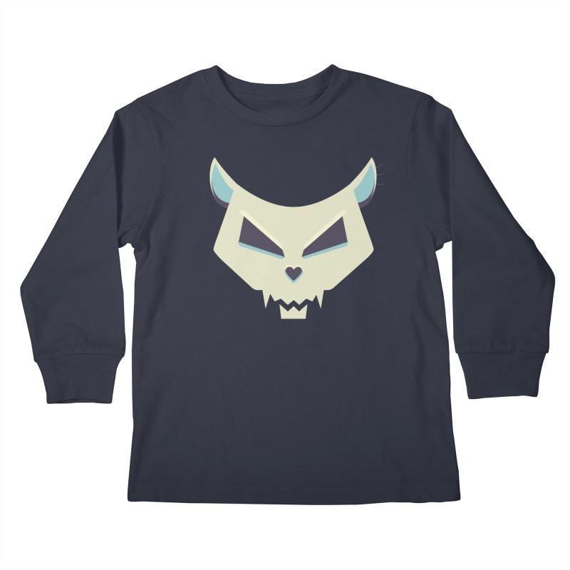 Funny Evil Cat Skull Kids Longsleeve T-Shirt by Boriana's Artist Shop