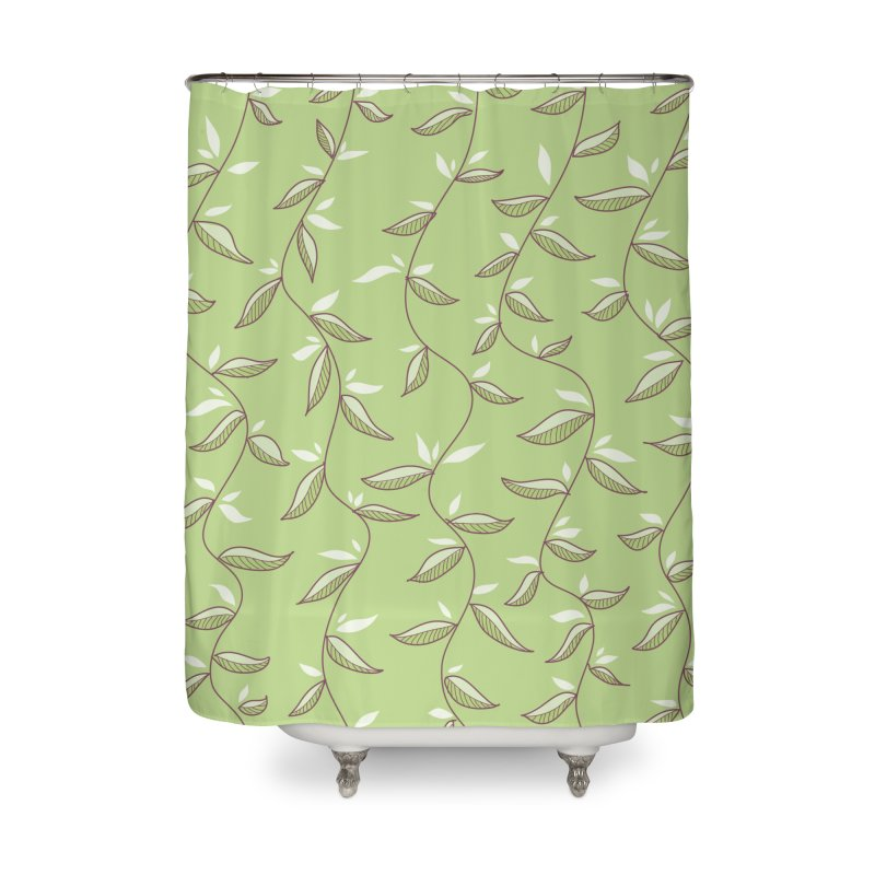 Gentle Green Leaves Pattern Home Shower Curtain by Boriana's Artist Shop