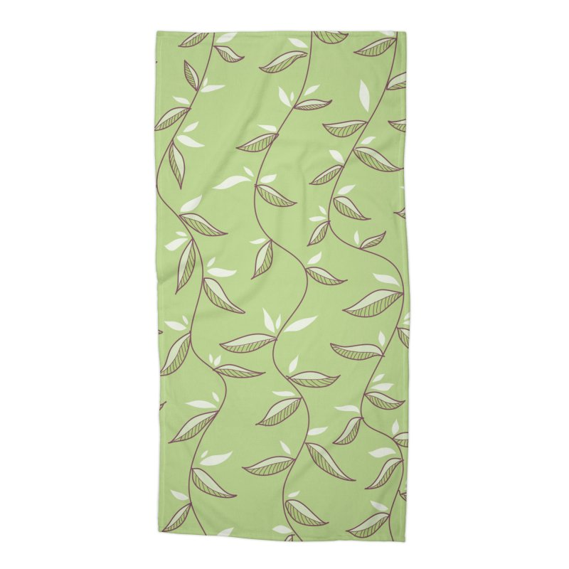 Gentle Green Leaves Pattern Accessories Beach Towel by Boriana's Artist Shop