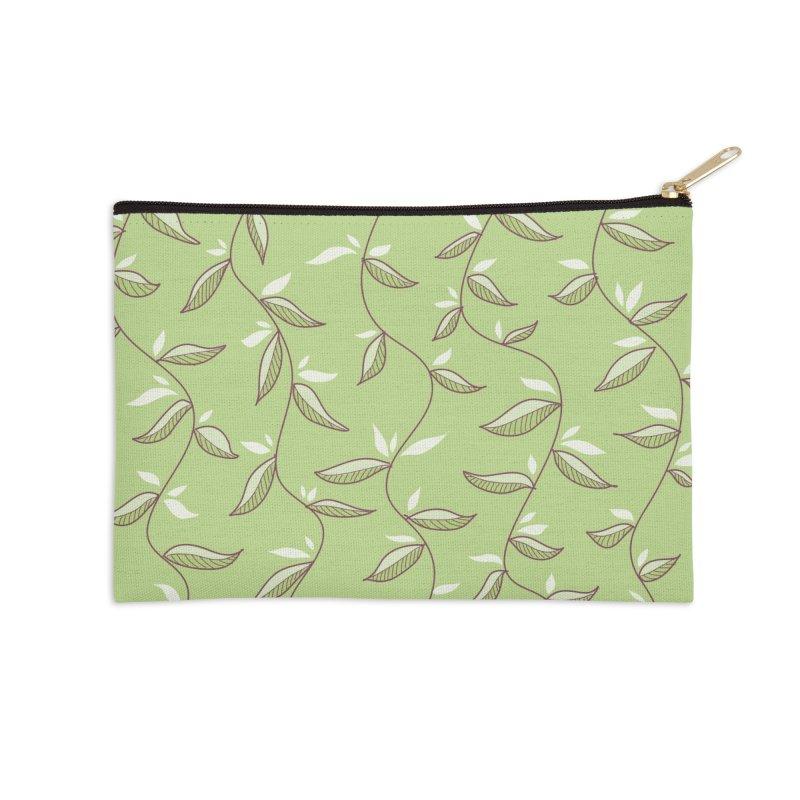 Gentle Green Leaves Pattern Accessories Zip Pouch by Boriana's Artist Shop