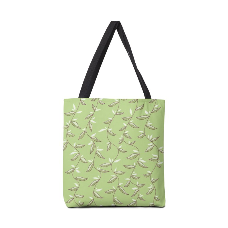Gentle Green Leaves Pattern Accessories Bag by Boriana's Artist Shop