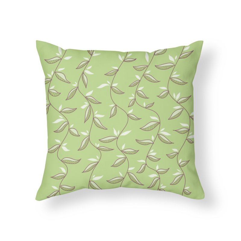 Gentle Green Leaves Pattern Home Throw Pillow by Boriana's Artist Shop