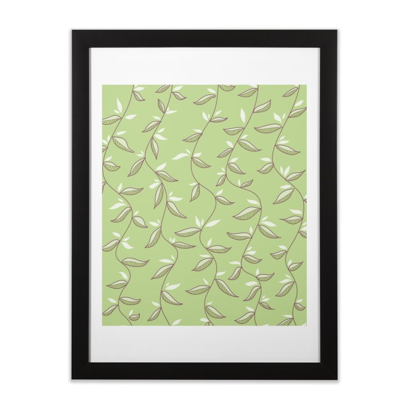 Gentle Green Leaves Pattern Home Framed Fine Art Print by Boriana's Artist Shop