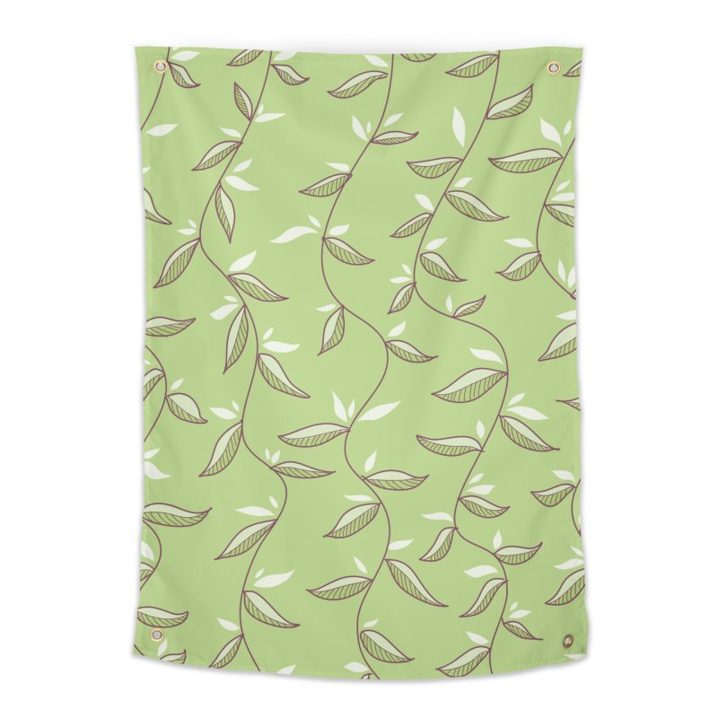 Gentle Green Leaves Pattern Home Tapestry by Boriana's Artist Shop