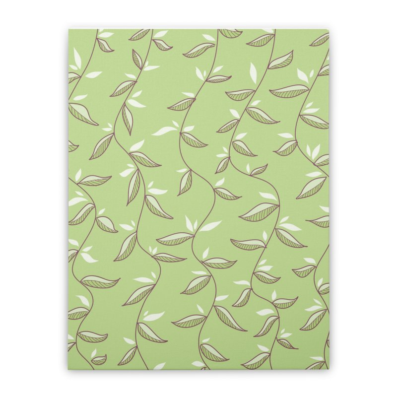 Gentle Green Leaves Pattern Home Stretched Canvas by Boriana's Artist Shop