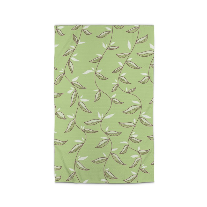 Gentle Green Leaves Pattern Home Rug by Boriana's Artist Shop