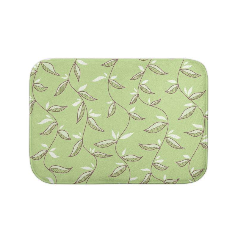 Gentle Green Leaves Pattern Home Bath Mat by Boriana's Artist Shop