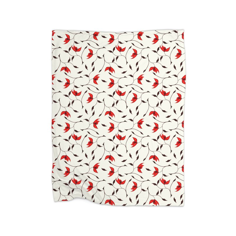 Strange Red Flowers Pattern Home Blanket by Boriana's Artist Shop