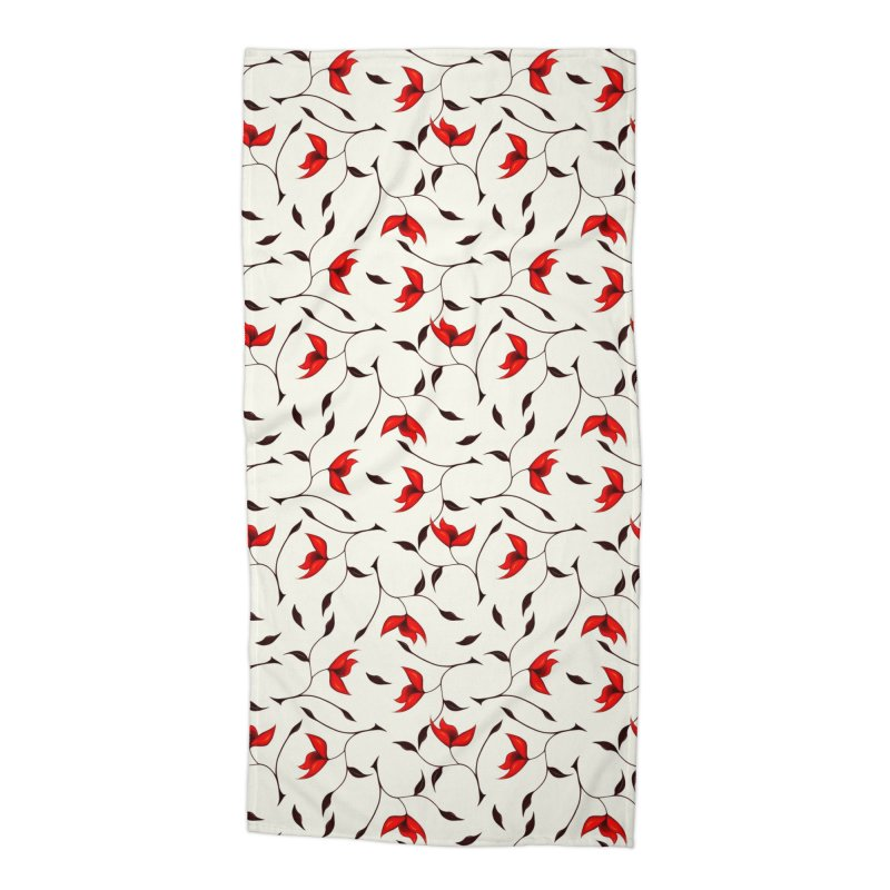 Strange Red Flowers Pattern Accessories Beach Towel by Boriana's Artist Shop