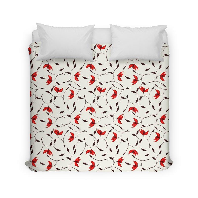 Strange Red Flowers Pattern Home Duvet by Boriana's Artist Shop