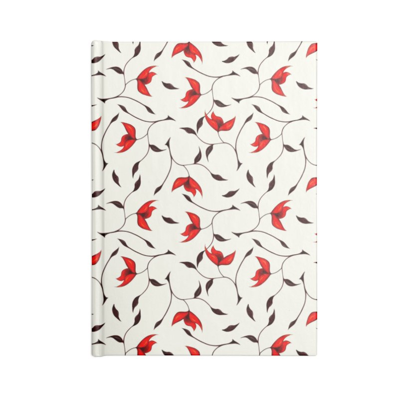 Strange Red Flowers Pattern Accessories Notebook by Boriana's Artist Shop