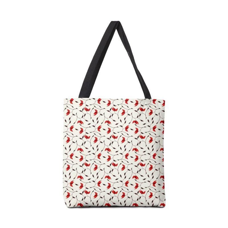 Strange Red Flowers Pattern Accessories Bag by Boriana's Artist Shop