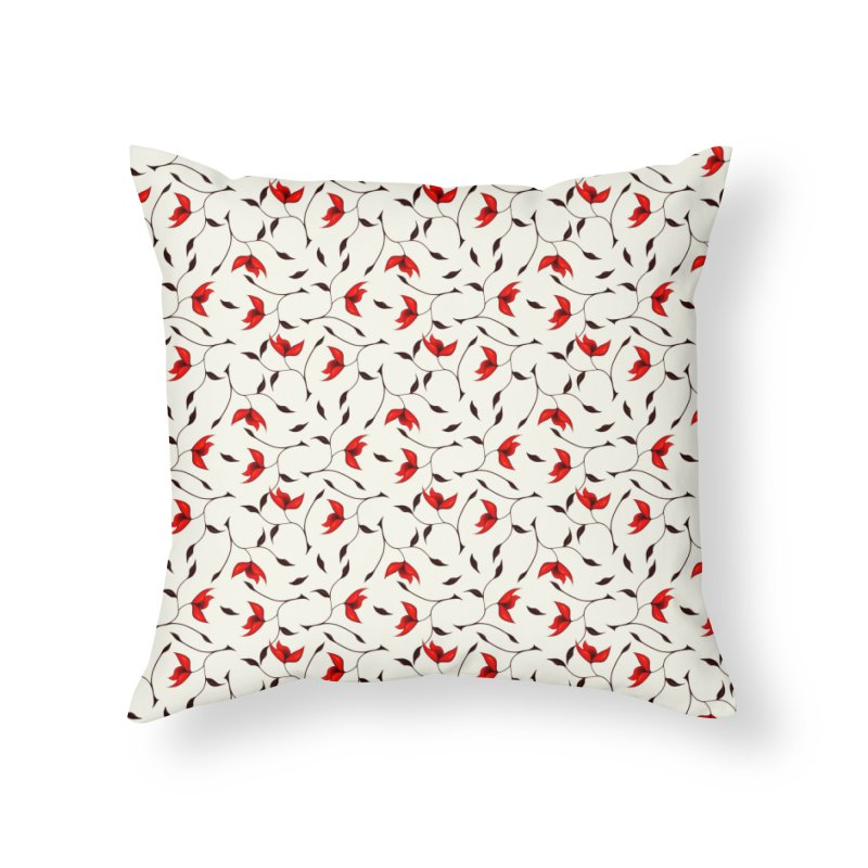 Strange Red Flowers Pattern Home Throw Pillow by Boriana's Artist Shop