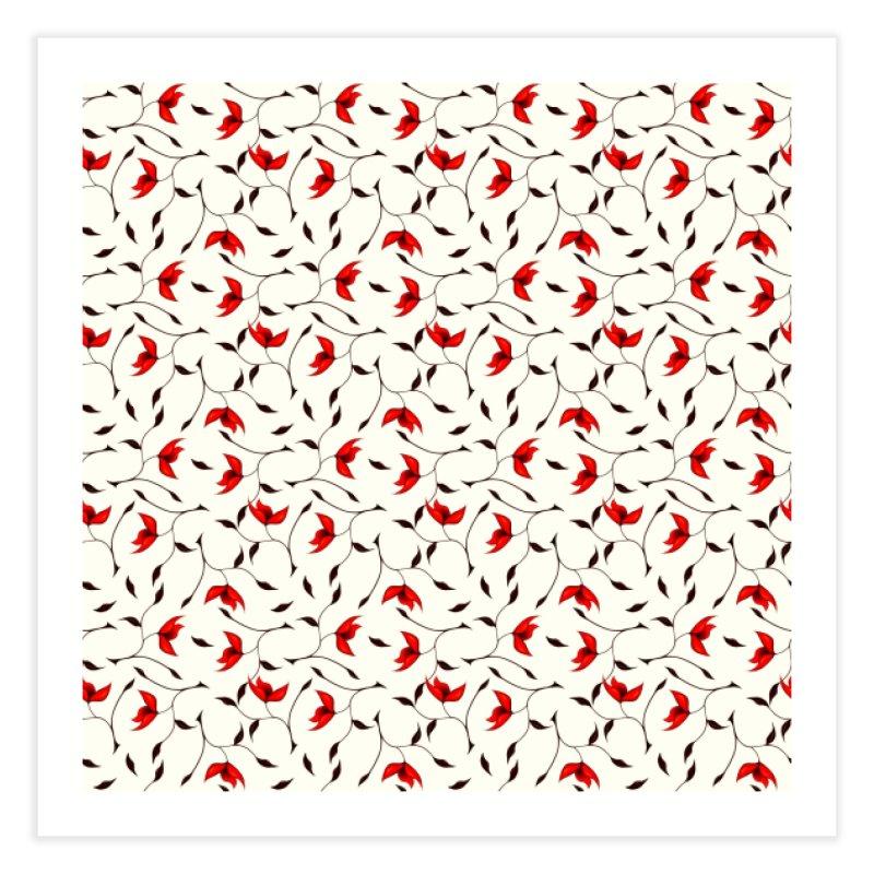 Strange Red Flowers Pattern Home Fine Art Print by Boriana's Artist Shop