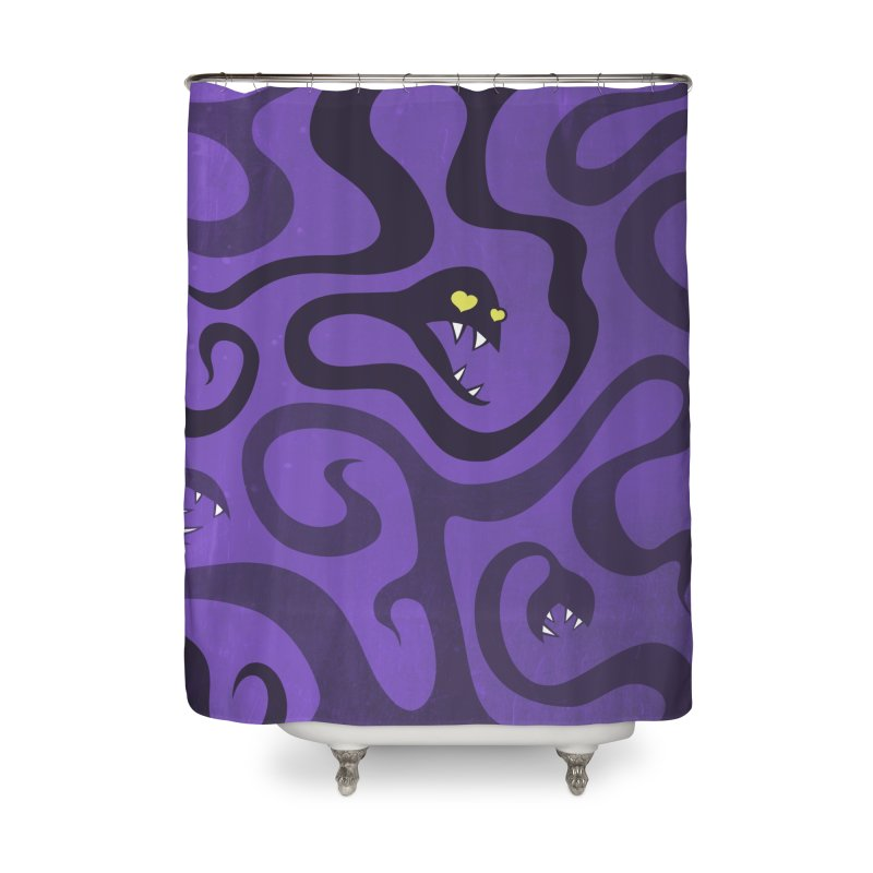 Purple Evil Snakes In Love Home Shower Curtain by Boriana's Artist Shop