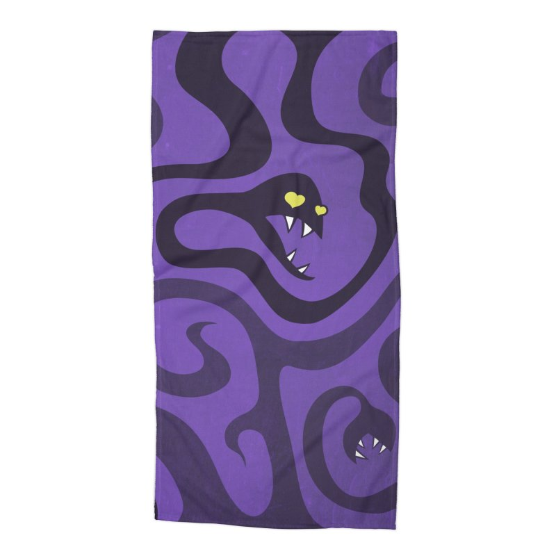 Purple Evil Snakes In Love Accessories Beach Towel by Boriana's Artist Shop