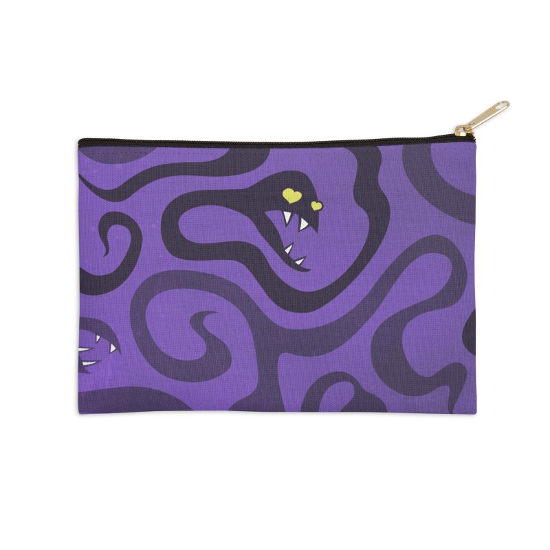Purple Evil Snakes In Love Accessories Zip Pouch by Boriana's Artist Shop