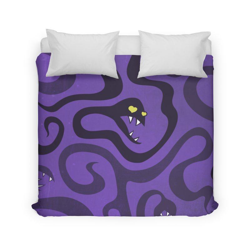 Purple Evil Snakes In Love Home Duvet by Boriana's Artist Shop