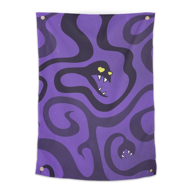 Purple Evil Snakes In Love Home Tapestry by Boriana's Artist Shop