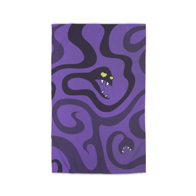 Purple Evil Snakes In Love Home Rug by Boriana's Artist Shop
