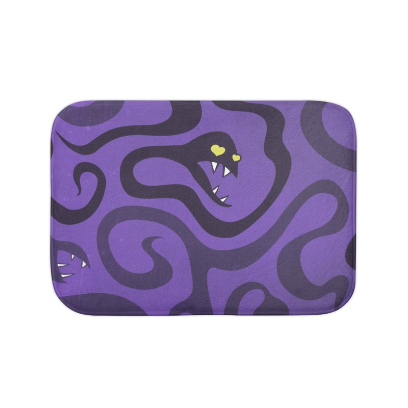 Purple Evil Snakes In Love Home Bath Mat by Boriana's Artist Shop