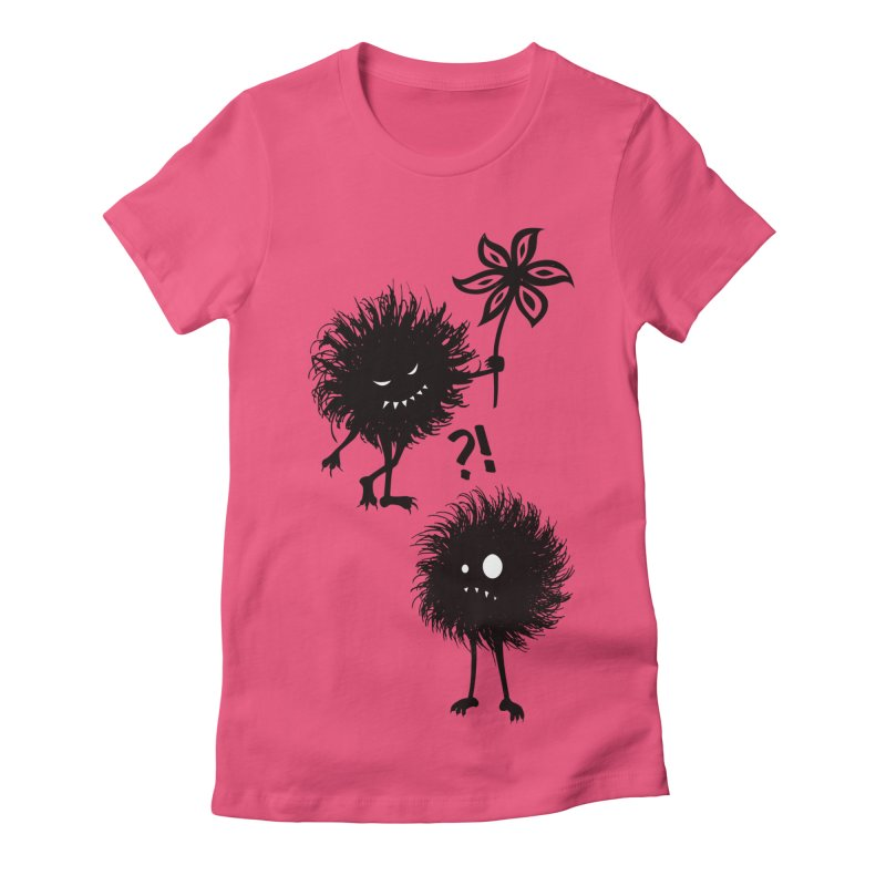 Kind Evil Bug Friends in Women's Fitted T-Shirt Fuchsia by Boriana's Artist Shop