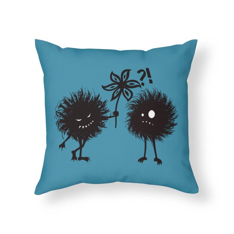 Kind Evil Bug Friends Home Throw Pillow by Boriana's Artist Shop