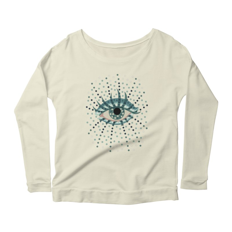 Dotted Blue Eye Women's Longsleeve Scoopneck  by Boriana's Artist Shop