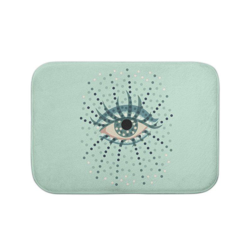 Dotted Blue Eye Home Bath Mat by Boriana's Artist Shop