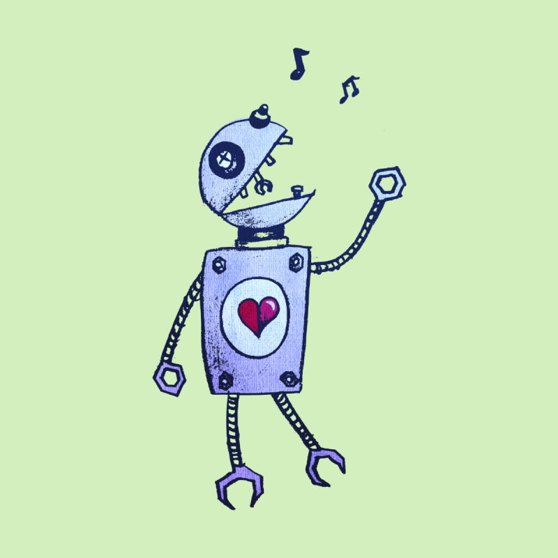 Happy Cartoon Singing Robot by Boriana's Artist Shop