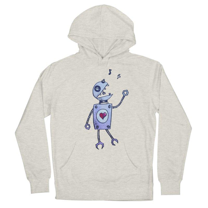 Happy Cartoon Singing Robot Women's Pullover Hoody by Boriana's Artist Shop