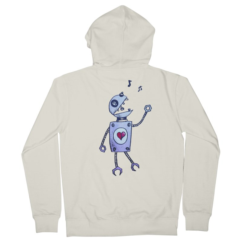 Happy Cartoon Singing Robot Men's Zip-Up Hoody by Boriana's Artist Shop