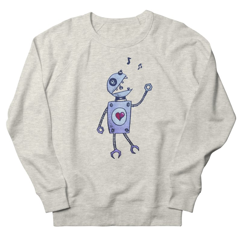 Happy Cartoon Singing Robot Women's Sweatshirt by Boriana's Artist Shop