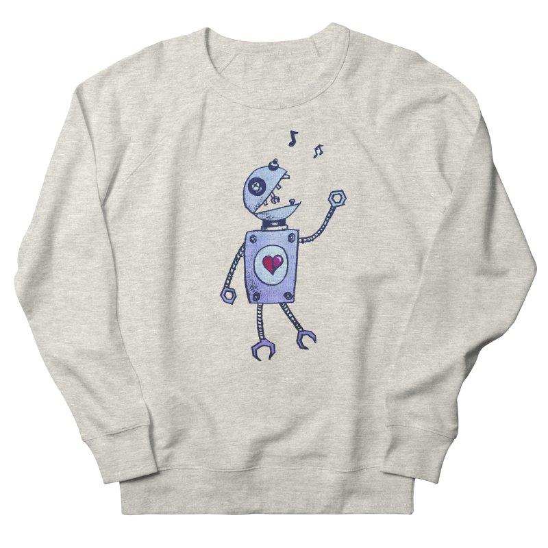 Happy Cartoon Singing Robot Men's Sweatshirt by Boriana's Artist Shop