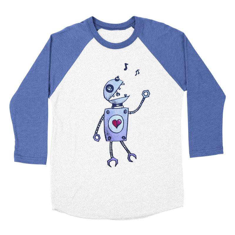 Happy Cartoon Singing Robot Men's Baseball Triblend T-Shirt by Boriana's Artist Shop