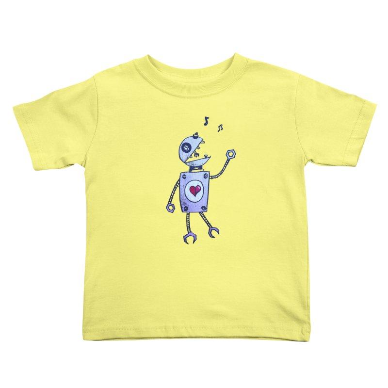 Happy Cartoon Singing Robot Kids Toddler T-Shirt by Boriana's Artist Shop