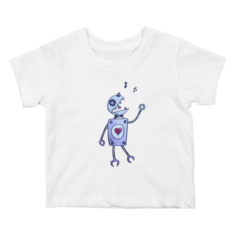 Happy Cartoon Singing Robot Kids Baby T-Shirt by Boriana's Artist Shop