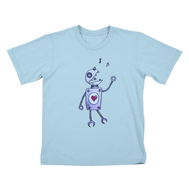 Happy Cartoon Singing Robot Kids T-shirt by Boriana's Artist Shop