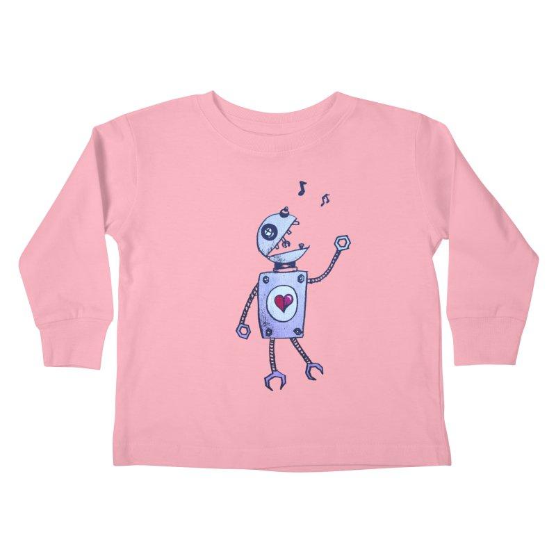 Happy Cartoon Singing Robot Kids Toddler Longsleeve T-Shirt by Boriana's Artist Shop