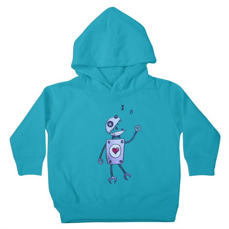 Happy Cartoon Singing Robot Kids Toddler Pullover Hoody by Boriana's Artist Shop
