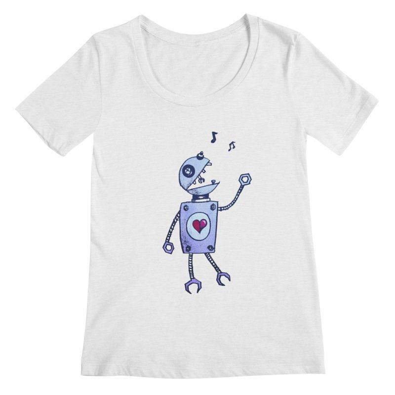 Happy Cartoon Singing Robot Women's Scoopneck by Boriana's Artist Shop