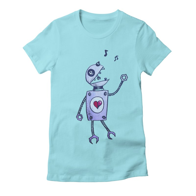 Happy Cartoon Singing Robot Women's Fitted T-Shirt by Boriana's Artist Shop
