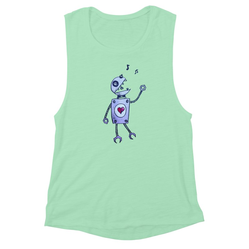 Happy Cartoon Singing Robot Women's Muscle Tank by Boriana's Artist Shop