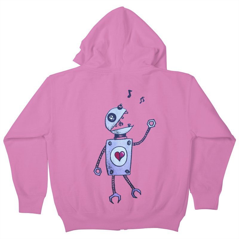 Happy Cartoon Singing Robot Kids Zip-Up Hoody by Boriana's Artist Shop